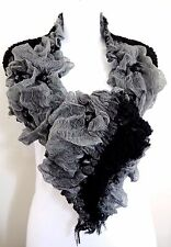 Ruffled scarf black gray ruched shoulder wrap fringed edge