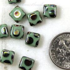 PRECIOSA Tile Beads, 6x6mm, Light Green w/Peacock Finish, Czech Beads 20 Pcs