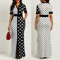 Vintage Women's Sexy Summer Short Sleeve Polka Dot Print Bodycon Long Maxi Dress