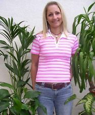 Sexy Ladies Tokyo Style Stripe T-Shirt Polo 10-12 Sexy Womens tshirt Medium Pink