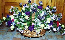Headstone Tribute Grave Cemetery Basket Butterflies Wildflowers Silk Mini Roses
