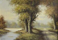schwer lesbar signiert -ANTIK- Gemälde: BUCHENWALD MIT WEG, LICHTUNG u GEWÄSSER
