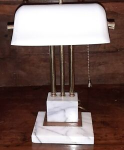 Vintage Desk Lamp by House of Troy - Carrara Marble & Brass