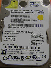 120 gb de Western Digital WD 1200 BEVS - 22ust0/FH 0 tjhbb/2060-701499-000 Rev a-HD