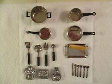 Vintage Barbie Size 1:6 Scale Doll Furniture Accessories Metal Pots & Pans