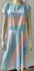 VINTAGE ladies size 14 dress 80s shift house striped summer