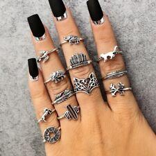Boho Ring Set Knuckle Rings Midi Black Silver Fashion Thumb Stack 12 Ring Set F