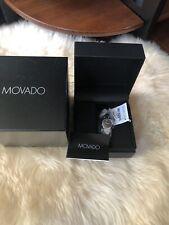 Movado Kara Two Tone Silver Gold Black Dial Swiss Watch 24mm 0606948