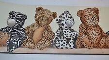 York Animal Print TEDDY BEARS Pre-Pasted Wallpaper Border 5 Yards NEW