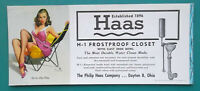 PIN-UP GIRL Sits in Low Beach Chair - 1950s INK BLOTTER Ad Haas Co Dayton Ohio