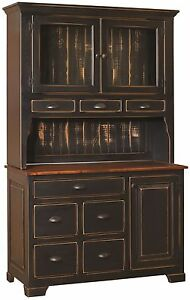 Amish Primitive Pantry Hutch Server Farmhouse Cottage Cupboard Distressed Wood