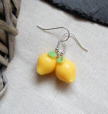 Cute Lemon Drop Yellow Earrings Kitsch/Retro Fruity/Sweet Fun Jewellery UK