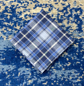 Blue White Plaid Cotton Pocket Square Handkerchief Neckerchief Bandana