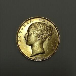 (1884) Gold 919. Sovereign Coin, Victoria dei Gratia - Shield Back Full