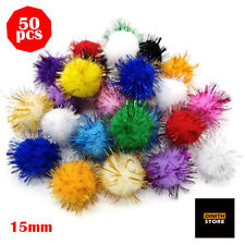 50pcs Sparkle Fluffy Ball Cat Toy Tinsel Pom Poms Glitter Interactive Toy 15mm
