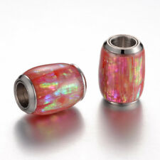Unique 304 Stainless Steel Enamel Magnetic Clasps Barrel w/ Shell Closures 16mm