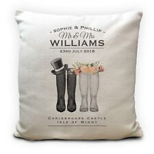 Personalised Wedding Cushion Cover Welly Wellington Boots Anniversary Gift 40cm