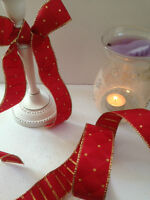 ROYAL JESTER diamond design in Gold on Red - Luxury Wire Edged Ribbon