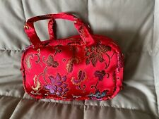 Nwot-Red Satin Floral Cosmetic Travel Bag 9 x 6 x 3