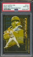 2019 Topps Fire Fired Up MIKE TROUT Gold Minted PSA 10 POP 1