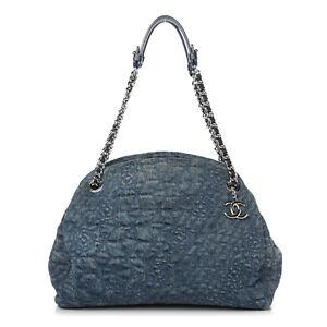 CHANEL Denim Camellia Large Just Mademoiselle Blue Shoulder Bag Tote