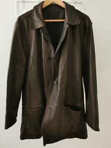 Emilio Zegna Brown Leather Classic & Polyester Reversible Coat Jacket M50