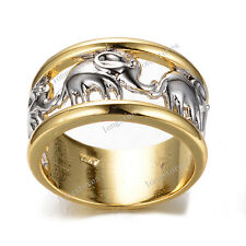 Lucky Silver Elephant Band Ring Men/Women's Yellow Gold Filled Jewelry Size 6-10