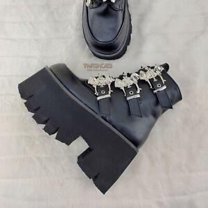 "Demonia Ashes 55 Black Bat Buckle 3.5"" Platform Heel Goth Boots RESTOCKED NY"