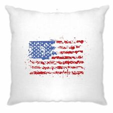 American Cushion Cover Paint Splatter US Flag 4th of July Art Stars and Stripes