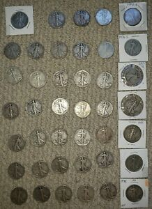 LOT of 90% Silver Walking Liberty Half Dollars x 41 Coins!!  1917-1945