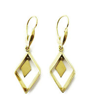 18k Yellow Gold Unique Rectangle Drop Hanging Ladies Earrings ~ 3.4g