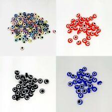 100 psc Evil Eye Beads, Flat Round, Evil Eye, Mixed Colors Jewellery Making