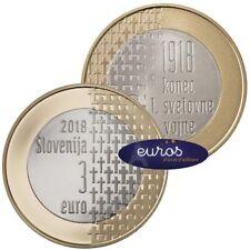Rouleau 20 x 3 euros commémoratives SLOVENIE 2018 - Fin de la Guerre 1914 - 1918