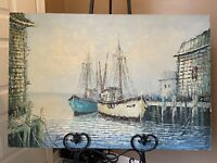 Fishing Boats Harbor Oil Painting by American Folk Artist Florence Wilkins Furst