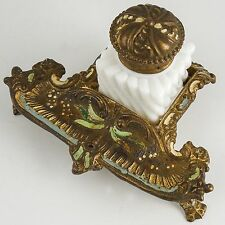 Victorian Inkwell w/ Milk Glass Insert, Gold Wash, Paint Decorated White Metal