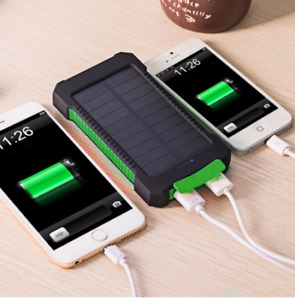 Solar Power Bank Waterproof 20000mAh  2 USB LED Battery Charger With Battery