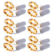 Bulk Lot 12pc 2m 20LEDs Warm White Wire String Fairy Light W/CR2032 Battery Xmas