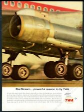1963 TWA airlines 707 plane landing color photo vintage print ad