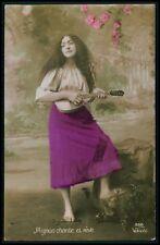 f Gypsy gipsy pretty woman European Ethnic Europa original c1910s photo postcard