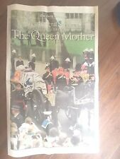 VINTAGE NEWSPAPER DAILY TELEGRAPH APRIL 9th 2002 H.M. THE QUEEN MOTHER FUNERAL