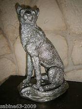 Leopard silber antik Figur Statue Dekoration 8791