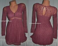 Hollister Co by Abercrombie Light Pink Lace Dress Key Open Back V Neck Sz 1 NEW