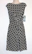 NWT LAUREN RALPH LAUREN Womens Black Colonial Printed Jersey Knot Dress, Size 6