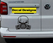 VOLKSWAGEN GASMASK cráneo insignia Calcomanía Vinilo Sticker Coche VW Golf Passat Scirocco