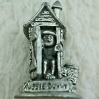 Miniature Pewter Aussie Dunny Outhouse Swagman Inside Vintage Made in Australia