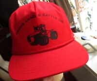 NEW NOS NWOT True Vtg 80s RED CLOTH Hat Cap Snap FARMER TRACTOR Logo DITTO