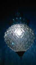MID CENTURY HOLLYWOOD REGENCY FALKENSTEIN CEILING SCONCE SWAG LAMP DIAMOND GLASS