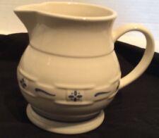 Longaberger Ceramic Pitcher Basketweave Small Blue Trim Pottery Collectible