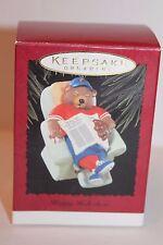 """Hallmark 1996 """"Happy Holi-doze"""" Baseball Bear Napping Christmas Tree Ornament"""
