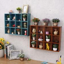 Vintage Wooden Wall Rack Floating Display Shelf Gadgets Holder Stand-Brown